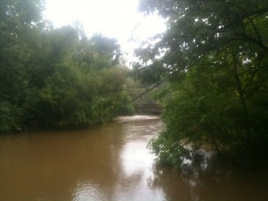 Photo of Ridley Creek - bridge in the distance is Baltimore Pike