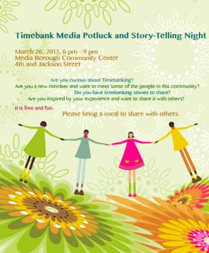 Timebank Media Potluck Story Telling Night