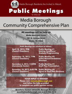 Media Borough Comprehensive Plan Meetings Flyer