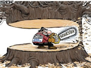 """Lumberjack with label """"Congress Tree Pruing"""" holding a chainsaw with the label """"Sequester"""" cutting an enormous tree which will obviously fall on top of the lumberjack once he cuts the final section of tree"""