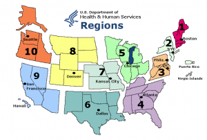 U.S. Health and Human Services Regions Map