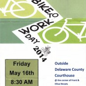 UPDATE:  13th Annual Delaware County Bike-To-Work Day to Take Place on Thursday May 22nd